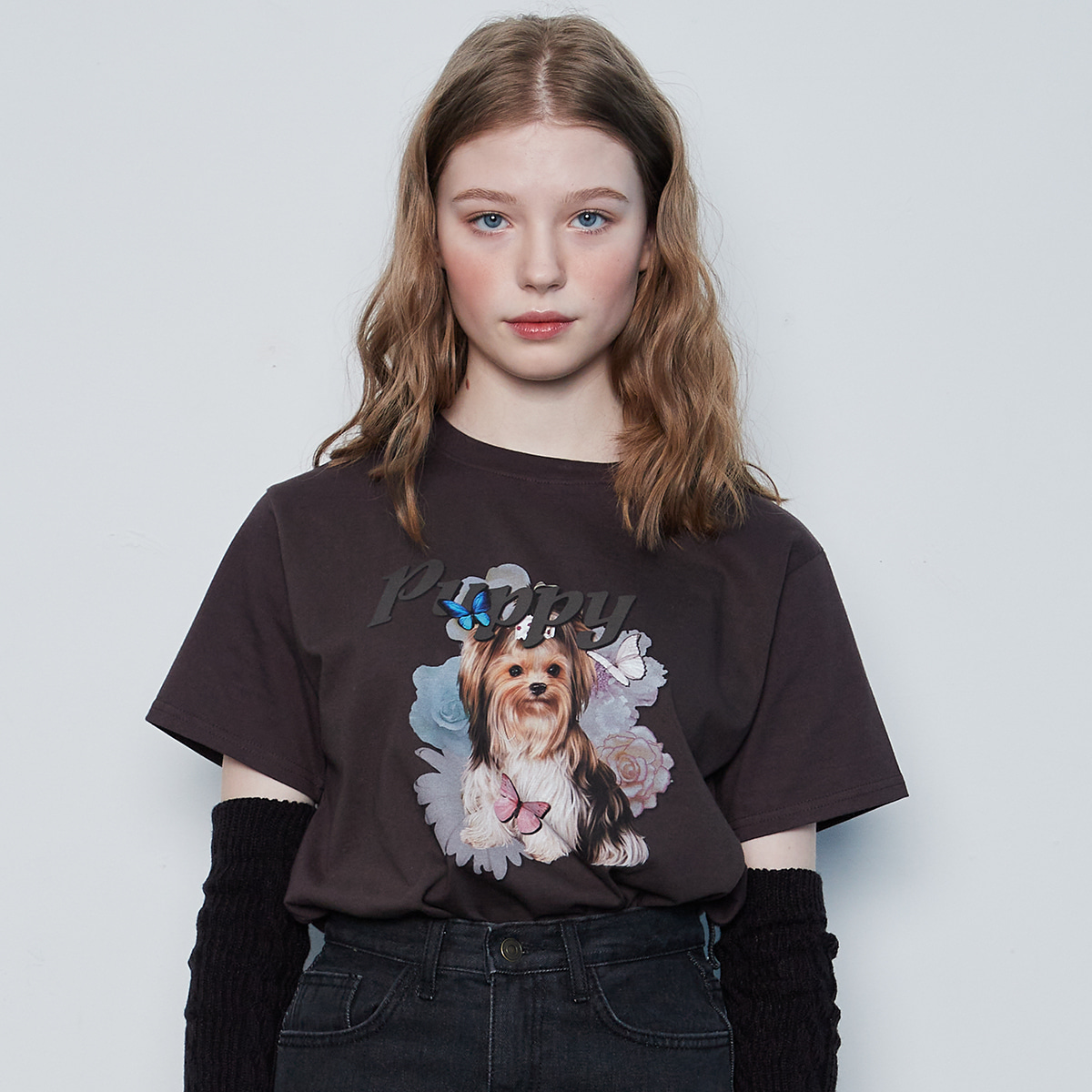 IN PUPPY TEE(CHARCOAL)