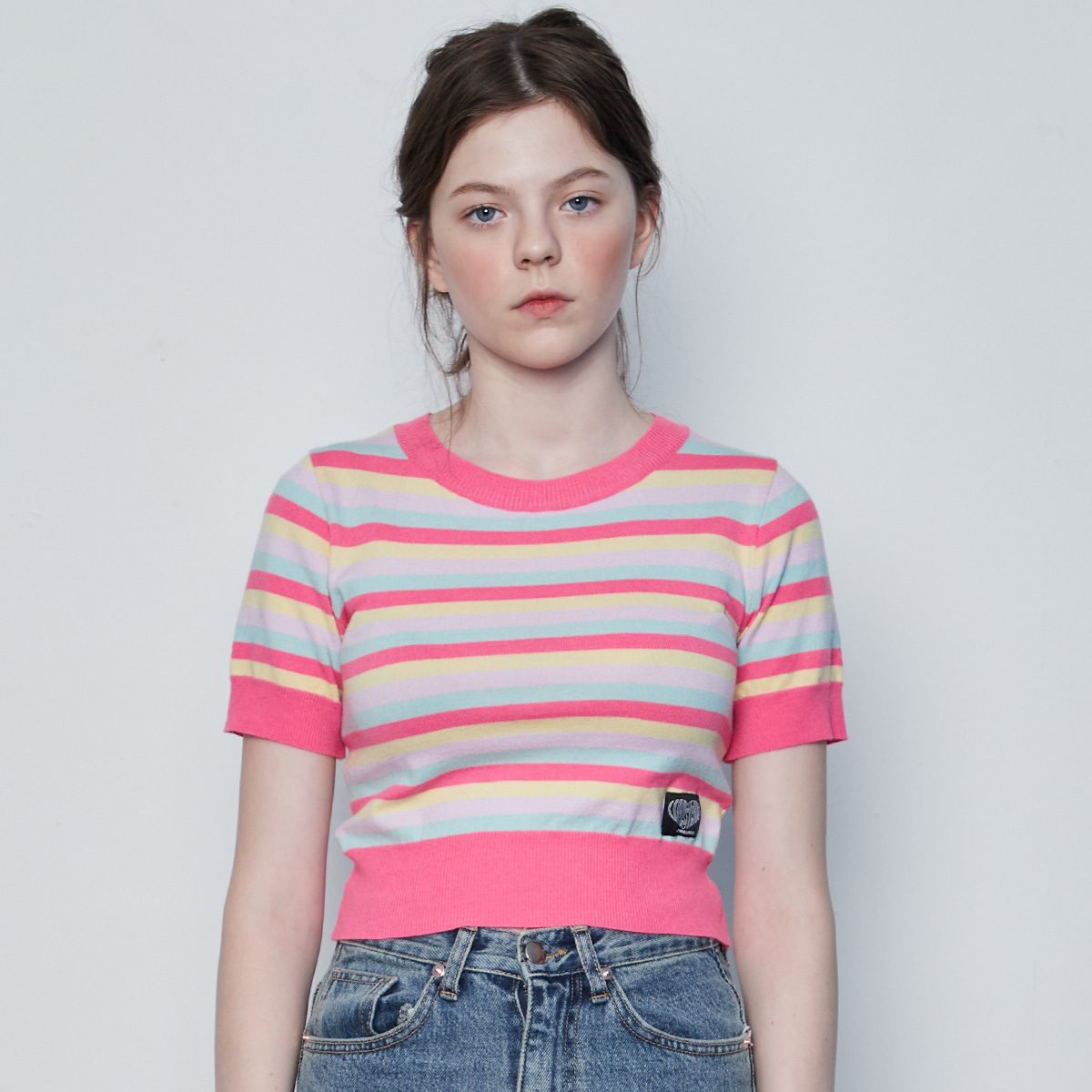 IN STRIPE CROP KNIT(PINK)